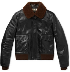 Saint Laurent - Shearling-Trimmed Leather Flight Jacket