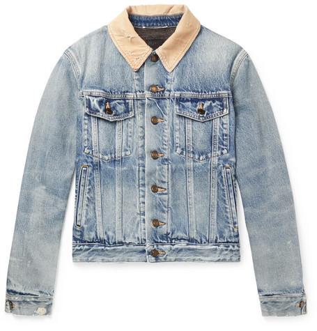 Distressed Corduroy Trimmed Denim Jacket by Saint Laurent