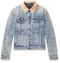 Saint Laurent Distressed Corduroy-Trimmed Denim Jacket