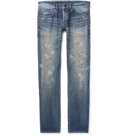 Slim Fit 17cm Paint Splattered Denim Jeans by Saint Laurent