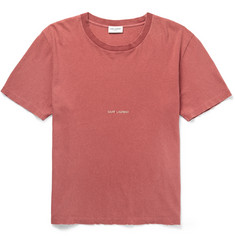 Saint Laurent - Distressed Printed Washed Cotton-Jersey T-Shirt