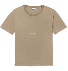 Saint Laurent Distressed Printed Washed Cotton-Jersey T-Shirt