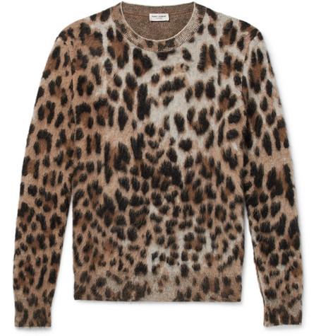 Slim Fit Leopard Print Mohair Blend Sweater by Saint Laurent