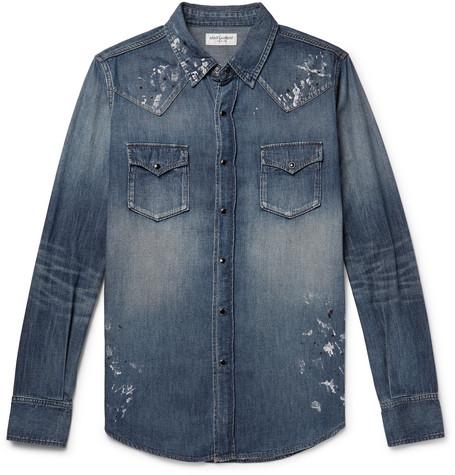 SAINT LAURENT Slim-Fit Distressed Denim Western Shirt