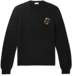 Saint Laurent Slim-Fit Appliquéd Cashmere Sweater