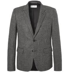 생 로랑 Saint Laurent Slim-Fit Basketweave Wool Suit Jacket,Gray