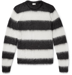 Saint Laurent - Distressed Striped Mohair-Blend Sweater