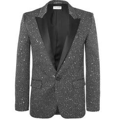 생 로랑 Saint Laurent Silver Slim-Fit Sequinned Woven Blazer,Silver