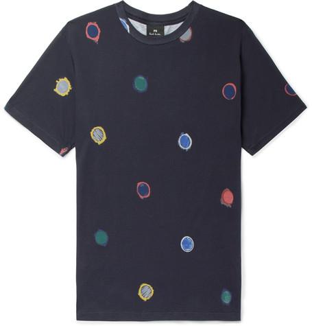 Printed Organic Cotton-jersey T-shirt - Navy