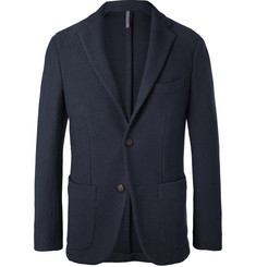 Incotex Navy Slim-Fit Textured Virgin Wool-Blend Blazer