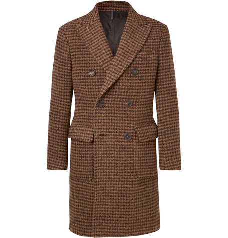 Slim Fit Double Breasted Houndstooth Alpaca Blend Coat by Incotex