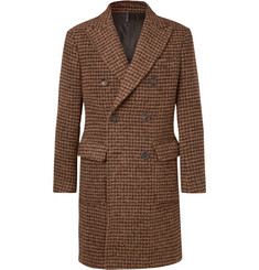 Incotex Slim-Fit Double-Breasted Dogtooth Alpaca-Blend Coat