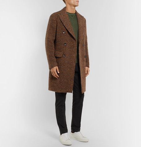 Double Alpaca Incotex Coat Houndstooth Blend Breasted Slim Fit XwpqpEZ