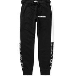 Palm Angels Slim-Fit Tapered Logo-Print Striped Cotton-Jersey Sweatpants