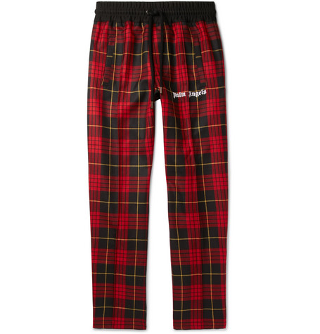 LOGO-PRINT CHECKED VIRGIN WOOL DRAWSTRING TROUSERS from MR PORTER