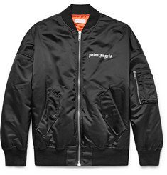 Palm Angels Logo-Print Shell Bomber Jacket