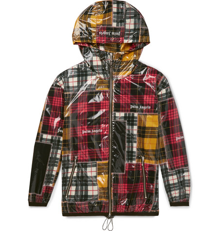LOGO-PRINT CHECKED COATED-SHELL JACKET from MR PORTER
