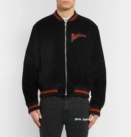 Logo Embellished Cotton Corduroy Bomber Jacket by Palm Angels
