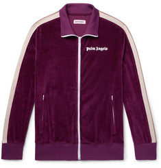 Palm Angels Webbing-Trimmed Cotton-Blend Velvet Track Jacket