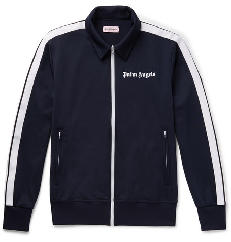 Logo Print Striped Tech Jersey Track Jacket by Palm Angels