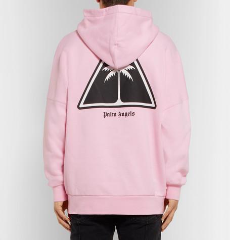 Oversized Logo Print Fleece Back Cotton Jersey Hoodie by Palm Angels