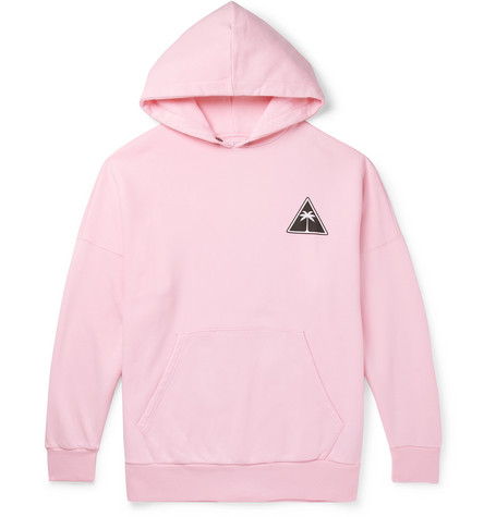 Palm Angels – Oversized Logo-print Fleece-back Cotton-jersey Hoodie – Pink