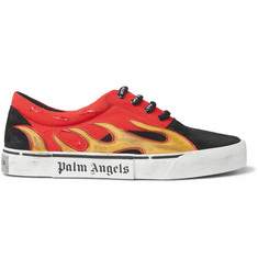 Palm Angels Distressed Suede, Canvas and Leather Sneakers