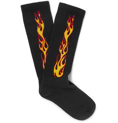 Palm Angels - Flames Stretch Cotton-Blend Socks