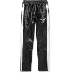 Palm Angels Slim-Fit Logo-Print Webbing-Trimmed Leather Sweatpants