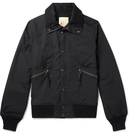 MONITALY Short Field Cotton-Shell Bomber Jacket in Black