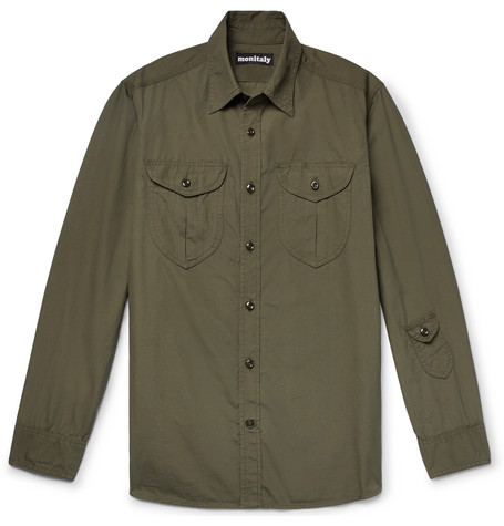 MONITALY Brushed-Cotton Shirt in Army Green