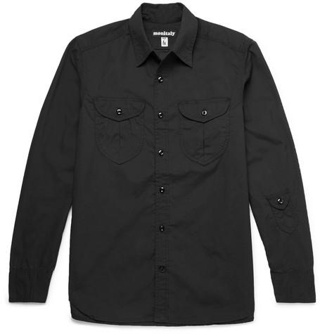 MONITALY Brushed-Cotton Shirt in Black