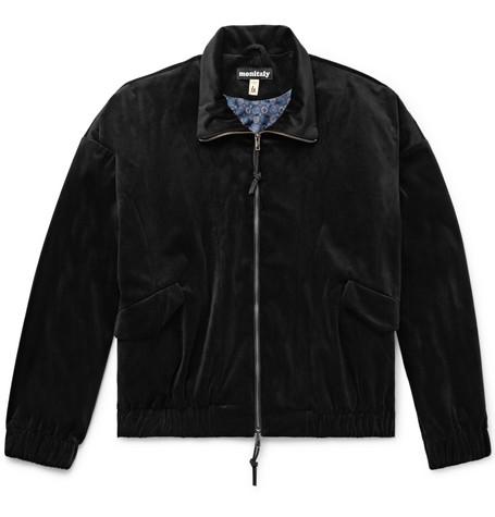 MONITALY Old Dog Velvet Blouson Jacket in Black