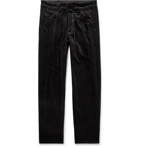 MONITALY Velvet Drawstring Trousers in Black