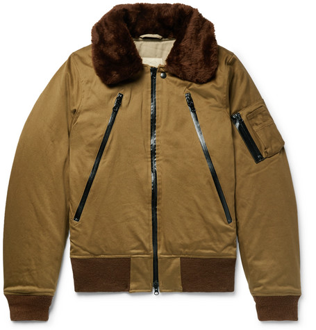 MONITALY B-15 Faux Shearling-Trimmed Cotton-Twill Bomber Jacket in Army Green