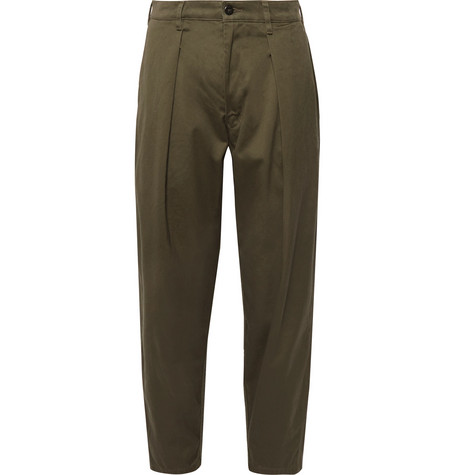 MONITALY Tapered Pleated Cotton-Sateen Trousers in Army Green