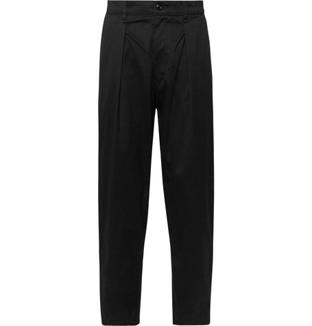 MONITALY Tapered Pleated Cotton-Sateen Trousers in Black