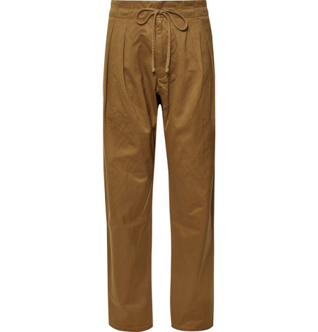 MONITALY Cotton Drawstring Trousers in Brown