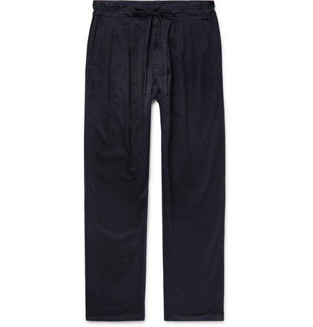 MONITALY Cotton Drawstring Trousers in Navy