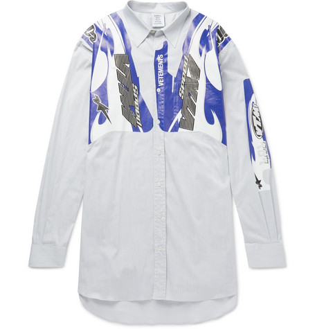 Oversized Printed Pinstriped Cotton-blend Poplin Shirt
