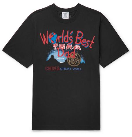 VETEMENTS Printed Cotton-Jersey T-Shirt, Black