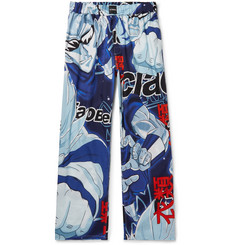 Vetements Wide-Leg Printed Cotton-Poplin Trousers