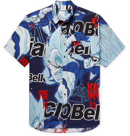 VETEMENTS Anime Silver Surfer Printed Poplin Shirt, Blue
