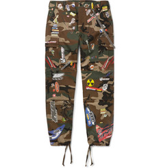Vetements Chain-Embellished Appliquéd Camouflage-Print Cotton-Twill Trousers