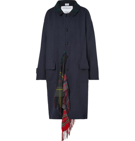 Vetements – Oversized Checked Scarf-trimmed Wool-twill Coat – Navy