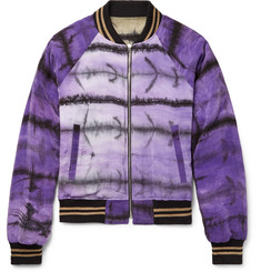 AMIRI Reversible Tie-Dyed Silk-Satin Bomber Jacket