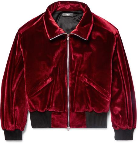 Burgundy Amiri Jacket Blouson Padded Velvet wqFPpp