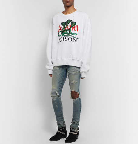 Printed Loopback Cotton Jersey Sweatshirt by Amiri