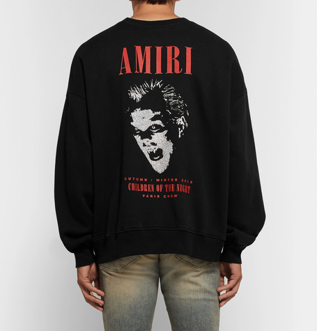 Printed Fleece Back Cotton Jersey Sweatshirt by Amiri