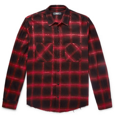 AMIRI Glittered Checked Cotton-Blend Flannel Overshirt